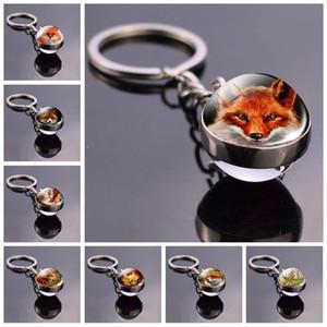 Red Fox Bola de cristal Llavero de la fauna Fox clave hebilla animal modelo dominante anillos colgantes