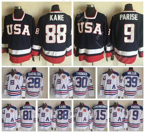 2010 Team USA 88 패트릭 케인 저지 빈티지 아이스 하키 네이비 블루 화이트 28 브라이언 라팔 스키 15 Jamie Langenbrunner Zach Parise Phil Kessel