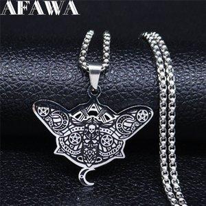 AFAWA Stregoneria Pentagram Luna dell'acciaio inossidabile del cranio Moth collane collana delle donne / uomini colore nero gioielli colgante N3328S02