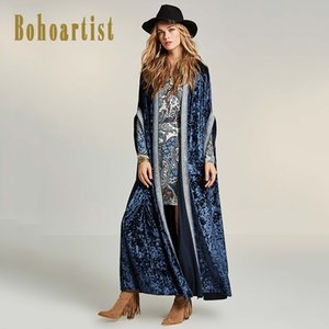 Bohoartist Winter-Frauen-langer Mantel-Frauen-Böhme Cardigan Trenchcoat Farbblock Female Velvet Patchwork Overcoat freies Verschiffen