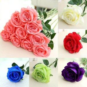 Yapay Çiçek Gül İpek Çiçekler Gerçek Dokunmatik Şakayık Dekoratif Parti Çiçek Düğün Süsleme Çiçek Noel Dekor DHL WX9-1634