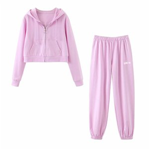 KUMSVAG 2020 Summer Women Two-piece sets Suits Hooded Pockets Hoodies Sweatshirts and Pants Female Casual Street 2 pieces Sets