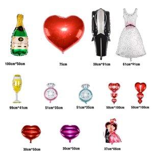 Balão Foil 3D Decoração Dos Desenhos Animados do Dia Dos Namorados Balões de Festa de Casamento Decoração de Noiva Noivo Anel de Diamante Balões Foil DH0933