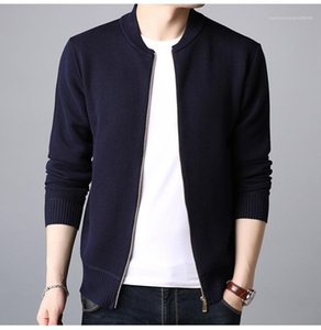 Sweat-shirts Mode Pure Color manches longues Cardigan en maille Hoodies Mens Casual Vêtements pour hommes Designer Collets en V Neck Zipper