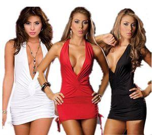 Sexy Lingerie Kadın Düşük Bosom V Boyun Robe Elbise Babydoll Gecelik Gecelik Pijama Beyaz kırmızı Siyah Ücretsiz Boyut