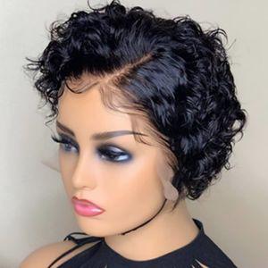 Frente del cordón pelucas cortas Pixie Cut peluca brasileña del pelo de Remy el 150% del frente del cordón pelucas del pelo humano sin cola Pre desplumados del cordón lleno peluca de pelo para las mujeres