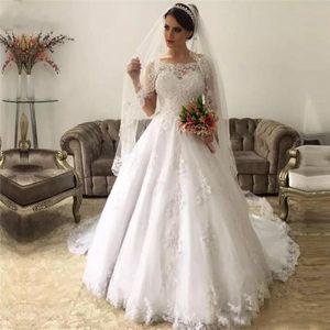 2020 Vintage Wedding Dresses A Line Bateau Long Sleeve Sweep Train Bridal Gowns With Lace Applique Plus Size Wedding Gowns