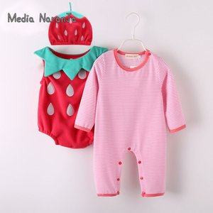Baby Girl Outfit Strawberry Costume Full Sleeve Pagliaccetto + cappello + gilet Infant Halloween Festival Purim Fotografia Abbigliamento MX190720