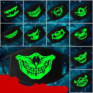 Männer Glow In Dark Schädel-Masken-Schwarz-Partei Maske Mund halb Gesicht Cosplay boom2016 Kostüm Gesicht Waschbar Warm Schwarz 3 Schicht-Baumwolle Maske Maske