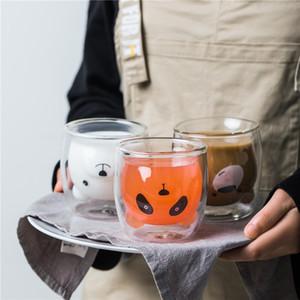 Lindo oso en forma de pared de doble pared tazas de cristal resistente kungfu taza taza leche leche de jugo de limón taza de bebida que bebe el amante del niño tazas de café taza regalo