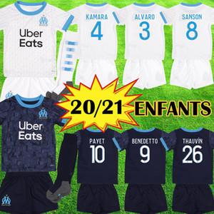 New Olympique de Marseille 2020 2021 Maillots enfant Benedetto Fußball Jersey OM Kind Maillot de foot PAYET Junge Uniform Kinder Kits Ausrüstung