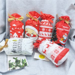 50X Natal Drawstring Bags favor de partido cookies Sweet Candy presente da meia Packing