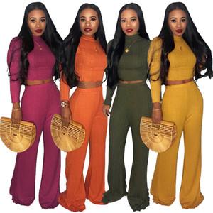 Mode limitée Col haut sexy rétro femme manches longues en maille haut et pantalon deux pièces Automne Set Survêtement Femmes Vêtements d'hiver