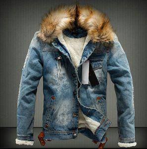 Dril de algodón de la chaqueta de la moda de los hombres de Desinger de 2019 Invierno nueva llegada de los hombres de grueso esquilado Caliente Tamaño 4XL Denim capa de la chaqueta con capucha Plus
