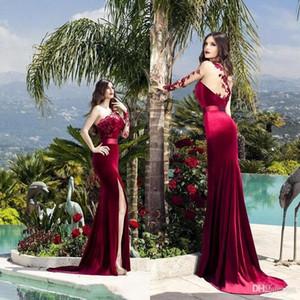 Bourgogne Velvet 2020 arabe Robes de soirée une épaule en dentelle à manches longues haut de Split formelle Parti Robes de bal BC0360