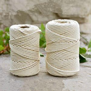 1mm / 3mm / 4mm / 6mm / 8mm10mm cotone naturale fatto a mano Cord Discussione Macrame Crochet corda fai da te appeso Arazzo Tessitura maglieria filato Rope