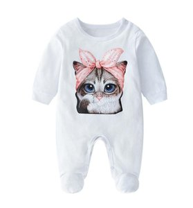 New 2019 Baby Girl boy Newborn Infant Long sleeve printing Jumpsuit white Fashion Rompers baby clothes