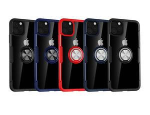 Akrilik PC TPU Lüks Karbon Elyaf Defender Kılıf iPhone 11 Pro Max XR XS MAX Not 10 Metal Halka Parantez Araç Tutucu