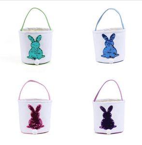 Easter Bunny Gift Bag Fashion Easter Basket Sequins Rabbit Candy Tote Bag Easter Storage Basket For Children
