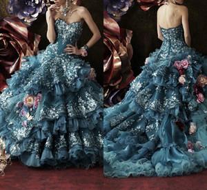 Stella De Libero Luxus Abendkleider Appliques Blumen Atrovirens Lace Up Zurück Brautballkleid-Fußboden-Längen-Weinlese-Abschlussball-Kleid