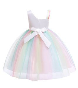 W329 Baby Tutu Dress Tulle Unicorn Children Gauze Gown Girl Kids Sequins Dress Lace Baby Party Ball Skirt Girls Princess Europe Dresses Gvcm