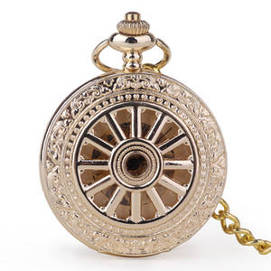 Fashion Mechanical Pocket WatchesGold Color Single Open Steel Mechanical Hand Wind Roman Numerals Watch Fob Watch Gifts