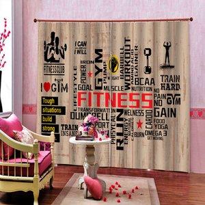 Custom Sports Gym Vorhänge Fenster-Vorhang Gym Muskuläre männlichen Schönheit Hantel drapiert Cortinas Sets Puzzle (linke und rechte Seite)