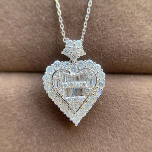 AEAW or blanc 18 carats 1.0 ct colliers coeur amour diamant naturel pendentifs diamants bijoux femme collier tour de cou