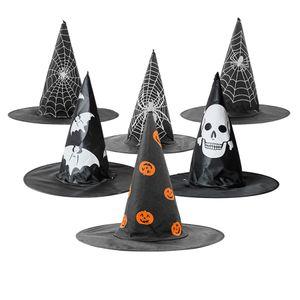 Взрослые Дети Ведьма Hat тыквы паук Bat Web черепа Printed Мастер Hat Хеллоуин костюм аксессуар Cap украшение партии JK1909XB