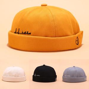 Hats For Skullcap Men Beanie Hat Winter Retro Brimless Baggy Melon Cap Cuff Docker Fisherman Beanies Hats For Men
