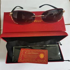 Hot Selling Buffalo Horn Glasses Fashion Men Sport Eyeglasses Decor Rimless Alloy Frame Buffalo Cãrtiêr Men Sunglasses lunettes de soleil