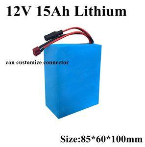 Frete grátis china recarregável li-ion bateria 12 v 15AH 18650 lítio baterias para 10 W a 300 W motor + 2A Carregador