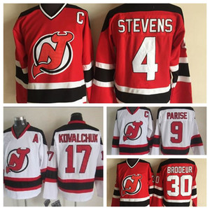 Moda Retro New Jersey Devils 17 Kovalchuk 9 Zach Parise 4 Scott Stevens 30 Martin Brodeur Bianco Mens Vintage CCM cucito pullover del hokey