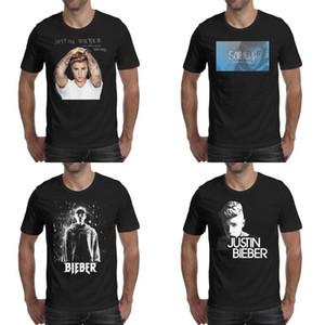 Clásico de alta calidad de Justin Bieber prediseñadas silueta de diseño de la camiseta de algodón de manga corta camiseta negro libro álbum camiseta camisa de perfume