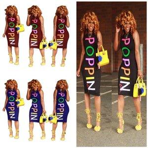 Kadınlar POPPIN Elbise Kolsuz Yelek BODYCON Elbise Gökkuşağı Letter Tek parça Etek Poppin Tasarım Plaj Uzun Elbise Clue Giyim 2XL yazdır