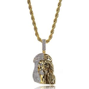Cor de ouro Religiosa Fantasma Jesus Colar de Pingente de Cabeça Congelada Para Fora Cubic Zirconia Encantos Hiphop Presente Da Jóia para Homens
