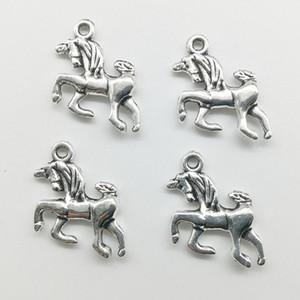 50 adet / grup Unicorn At Alaşım Charms Kolye Retro Takı Yapımı DIY Anahtarlık Antik Gümüş Kolye Bilezik Küpe Kolye Için 20 * 17mm