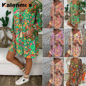 Kalenmos Bohemian Beach Summer Dress Women Printed Long Sleeve V-Neck Loose Maxi Dresses Vacation Daily Office Lady Vestidos