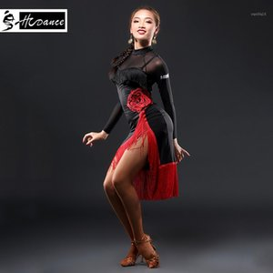 2019 Hcdance New Brand 1 Color Latin Dance Dress Women Black S-XXL Ballroom Tango Rumba Chacha Dance Dresses Hot Sale A31301