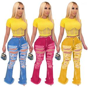 신축성 높은 허리 청바지 새로운 캐주얼 여성 디자이너 바지 여성 구멍 플레어 청바지 패션을 찢어 씻어