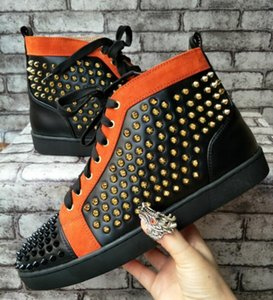 drop shipping new casual New! 2017 Fashion Sneakers for men with Spikes High Top red Casual Skateboarding Sports Shoes mens Dress Shoes