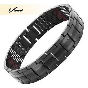 Vivari Bracelet magnétique Titanium Black Men Bangle 4in1 -ve Ions Germanium Infra Red Fashion Charm Bracelets bijoux poignet