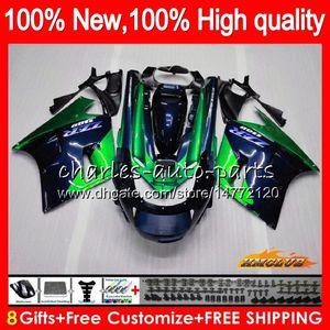 Cuerpo para Kawasaki ZZR1100 ZX11R ZZR 1100 CC ZX11 R 30HC.136 azul verde ZZR1100 ZX11 R ZX 11R ZX11R 90 91 92 1,990 1,991 1,992 carenado kit