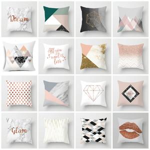 18 Стиль Современный простой наволочка Nordic розовый мрамор геометрическая наволочка диван персиковая кожа ворс наволочка T2I5812