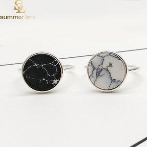 Высокое качество мраморные каменные кольца для женщины панк белый черный круглый геометрический регулируемый открытое кольцо девушки партия мода подарок ювелирные изделия
