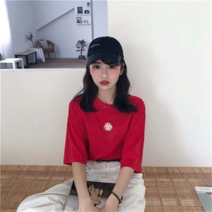 Special offer 2020 embroidery Daisy loose all-match short-sleeved T-shirt female student top fashion Special offer 2020 embroidery Daisy loo