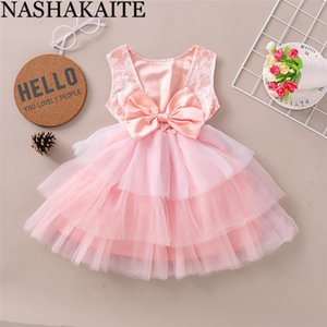 NASHAKAITE Pink Dress For Girls Lace Back Bow Girl Party Wedding Dresses Toddler Baby Girl Clothes Sweet Princess Dress For 1-4Y
