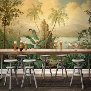 사용자 정의 3D 벽지 아트 벽면 유럽 스타일 레트로 풍경 유화 열대 우림 바나나 코코넛 나무 바탕 화면