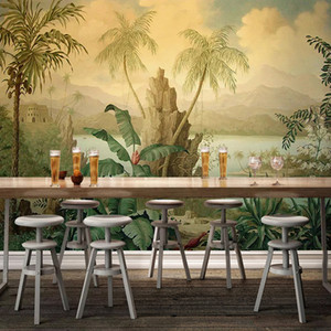 Benutzerdefinierte 3D Wallpaper Art Fototapete European Style Retro Landschaftsölgemälde Tropical Rainforest Banana Coconut Tree Wallpaper