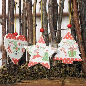 Wood Christmas Pendants Xmas Tree Drop Ornaments Deocrative Holiday Decorations